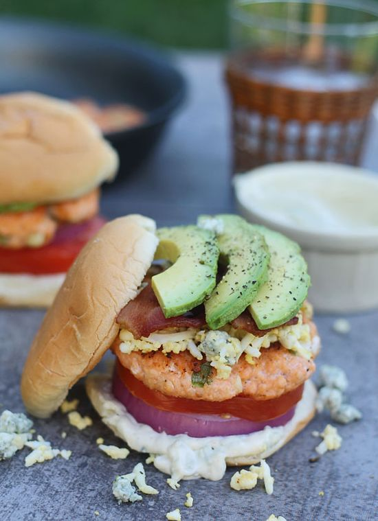 Cobb Salad Salmon Burgers with Blue Cheese Mayo by cookingforkeeps #Burgers #Salmon