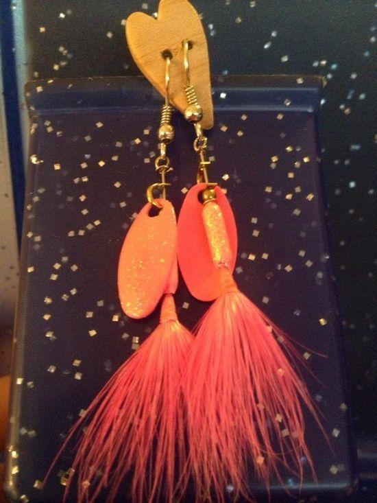 Handmade fishing lure earrings! Genuine Rooster