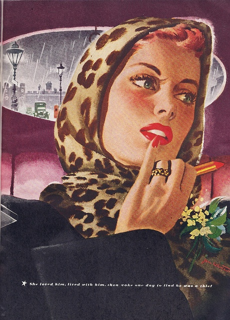 Leopard print + ruby red lips = vintage glam fabulousness! #vintage #1940s #forties #lipstick #beautiful