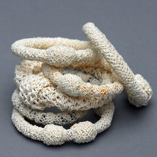 Bracelet made of Paper Yarn over Black Cord