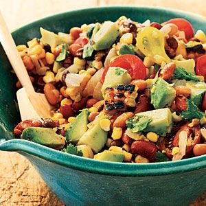 Pinto, Black, and Red Bean Salad with Grilled Corn and Avocado Recipe from Cooking Light!
