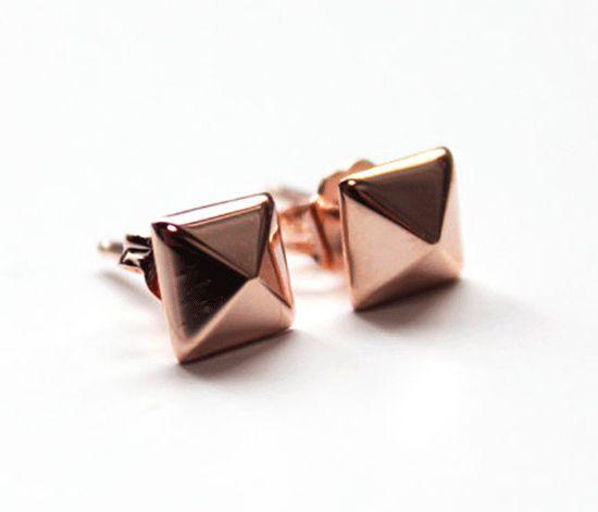 Rose Gold Pyramid Studs