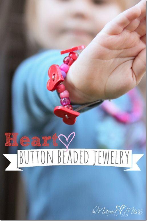 Heart Button Beaded Jewelry www.mamamiss.com ©2013