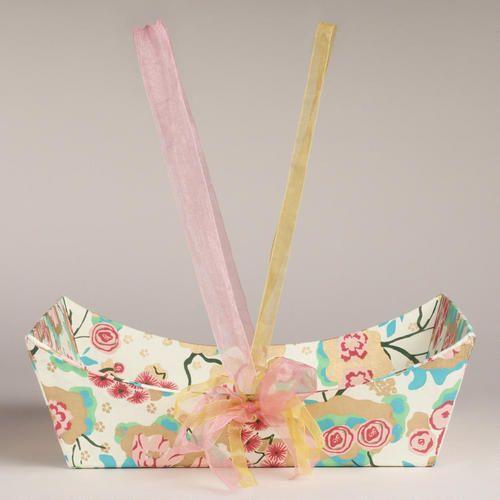 Pink Asian Floral Handmade Paper Gift Basket - World Market
