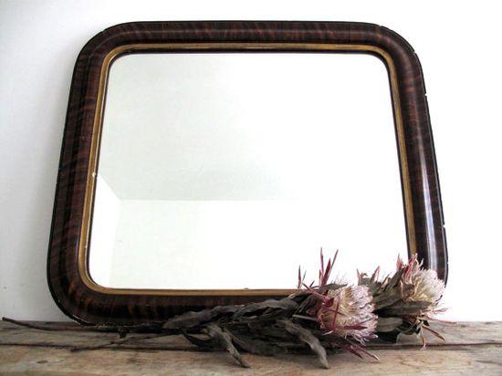 Antique Wall Mirror - Vintage Wood Mirrors - Decorative Mirror - Bathroom Decor Wood Frame