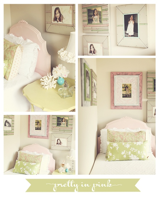 Girly pink and green bedroom