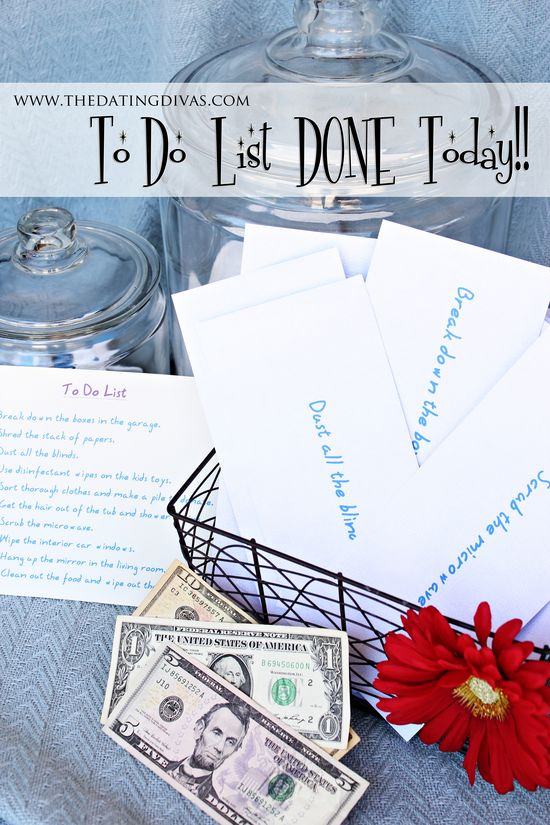 "Get your ""To Do"" List completely DONE today with this creative and easy idea that will motivate everyone!  www.thedatingdiva...  #dateideas #date #chores"