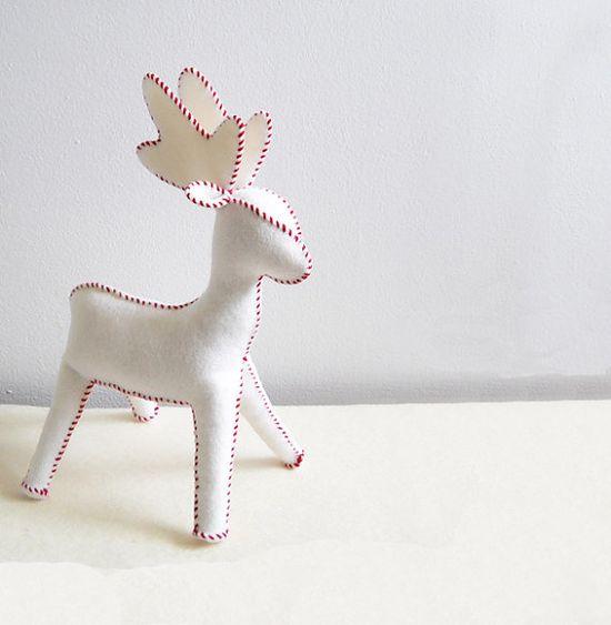 Wool Felt Reindeer Waldorf Stuffed Animal Large by GardenBirdie