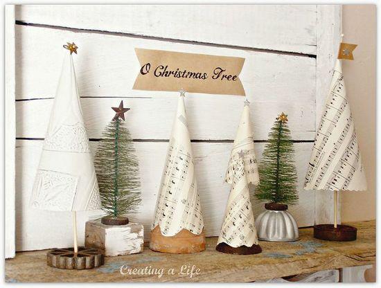 DIY Vintage Style Mini Christmas Trees