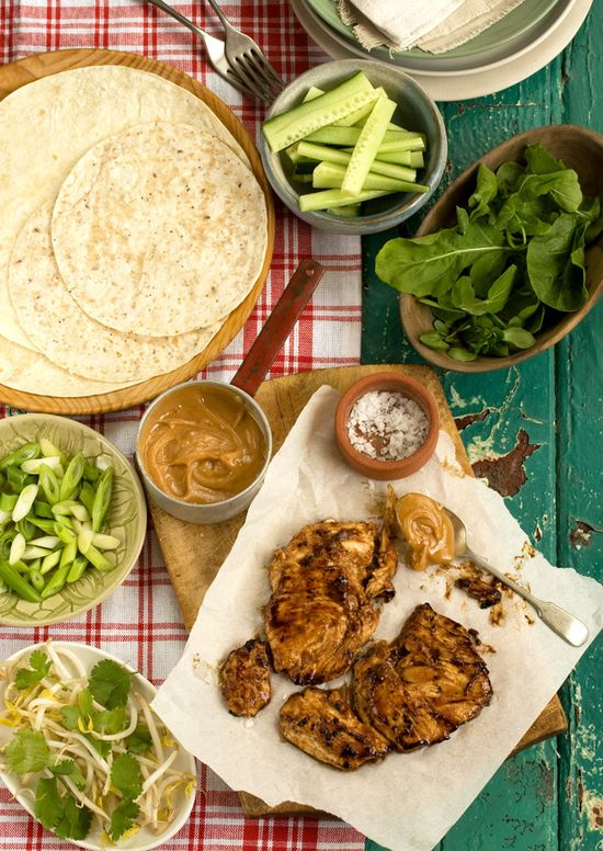 bang bang chicken wraps with a sweet chili peanut sauce
