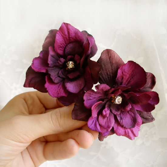 eggplant flower hair clips  HIGHLAND FLING  3 by thehoneycomb, $28.00