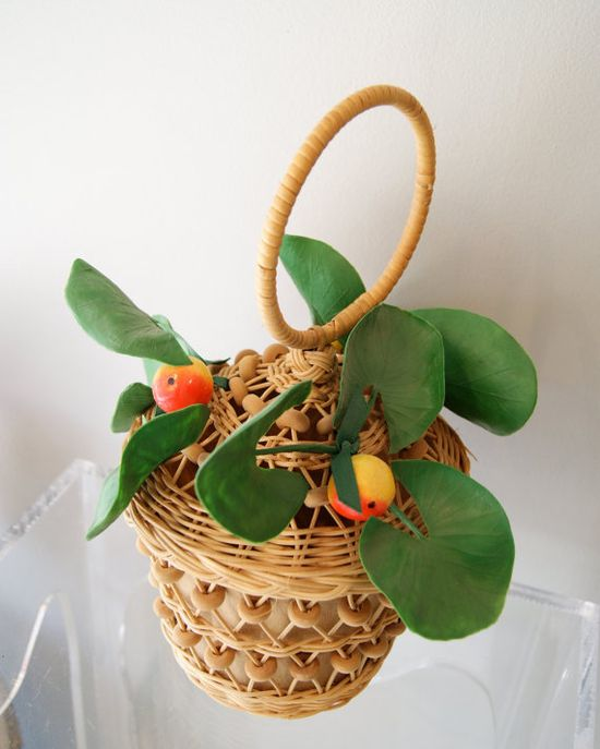 Vintage 50s Basket Purse with Faux Fruit and by xtabayvintage, $98.00