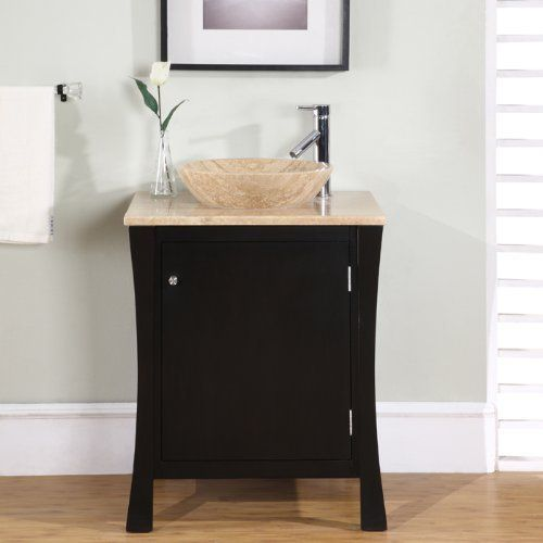 """26"""" Bathroom Furniture Travertine Top Single Sink Vanity Cabinet 711T by HF Gallery. $893.00. Countertop: Travertine Top. Sink Type: Drop In Travertine Stone Sink. Storage: 1 Door(s) and 1 Drawer(s). Pre-drilled Faucet Hole: Single hole (1.5"""") - Faucet Sold Separately. Item Dimensions: 26""""W x 22""""D x 37.25""""H. This vanity would be perfect in any large or small bathroom. Its unique yet exquisite design features a drop in Travertine stone vessel sink, one hidden drawer, and ..."""