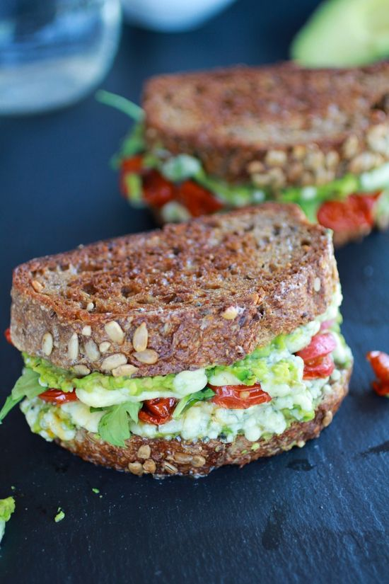 Blue cheese + smashed avocado and roasted tomato grilled cheese