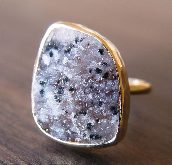 Dalmation druzy Ring in 14kt Gold.  -Druzy is a favorite of mine!  (friedasophie on Etsy)