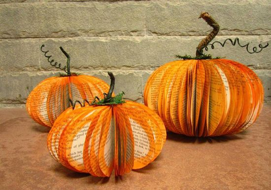 Pumpkins made from old books