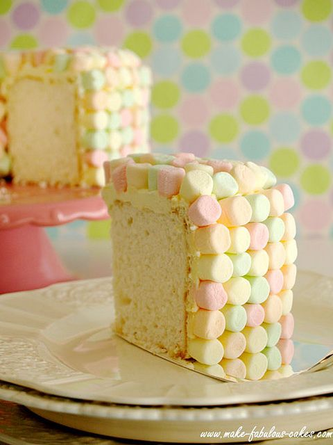 Awww, we used to make this when I was little (as well as a version done with thick Rice Krispie Treats) - I haven't thought about it in two decades. Marshmallow covered Heavenly Angel Food Cake. #food #cake #marshmallow #baking #dessert #pastel #vintage #retro #cute