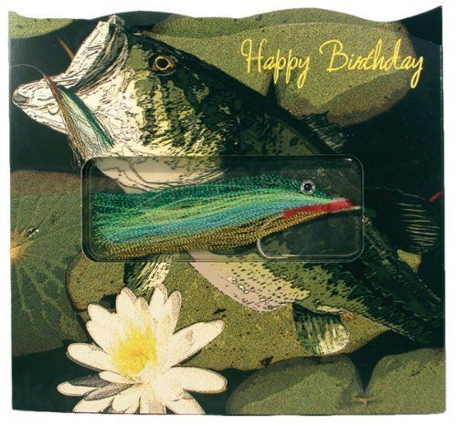 Happy Birthday / Bass Gift-in-greet Card Has an Authentic-handmade Fishing Lure for Instant Fishing Fun! Including Greeting Card and Envelope, Greeting Card Size: 6. 25 In. W X 5. 75 In. T by Hook, Line Greeting.