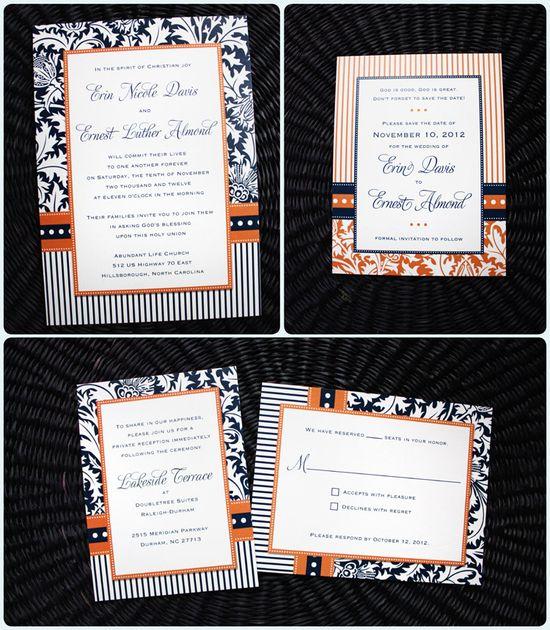navy blue and orange wedding invites - Google Search