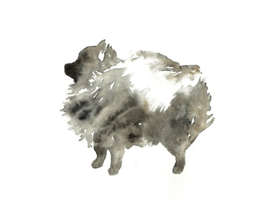 $40.00 Black Pomeranian Silhouette, Dog Watercolor Painting -  8x10. $40.00, via Etsy.