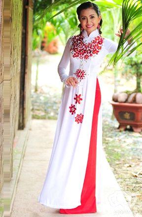 Red & white ao dai