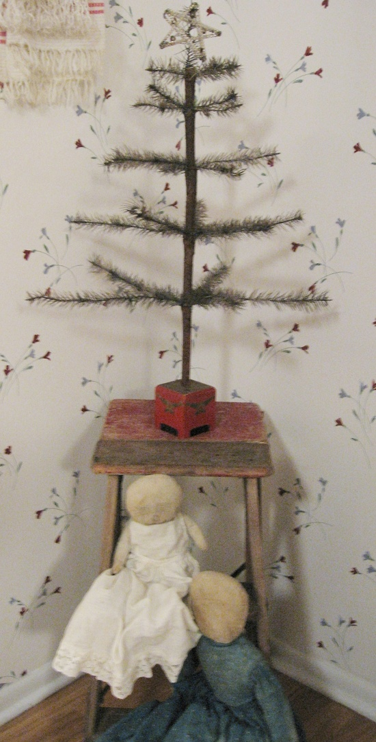 Primitive Feather Tree with Amish Rag Dolls