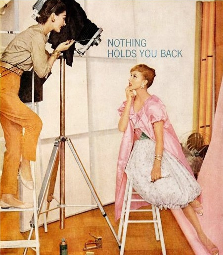 Whether in front of, or behind the camera, nothing holds you back! #vintage #ads #1950s #women