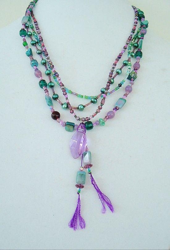 Boho Necklace Southwest Jewelry Bohemian Colorful by BohoStyleMe