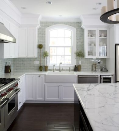 Love this kitchen renovation -- the colors/layout