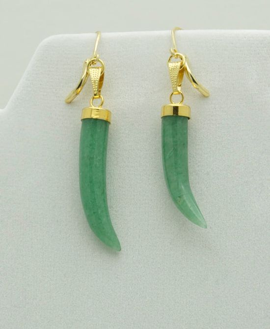 Green jade horn earrings with gold colored cap by MapletonDrive, $58.00