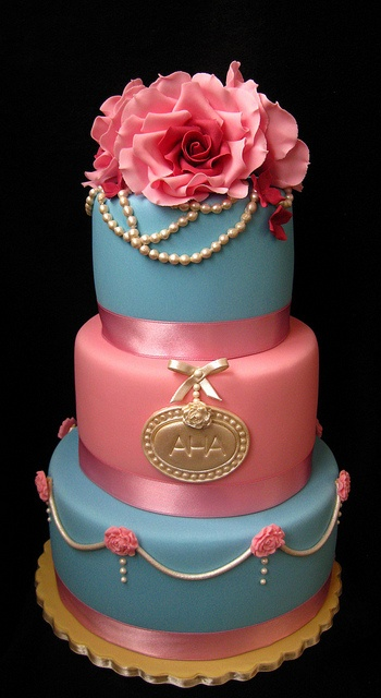 Pink and Blue Vintage Cake