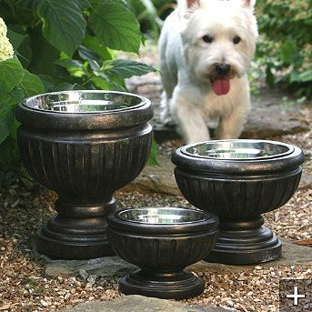 Put pet bowls in planters for attractive outdoor feeding / water dishes