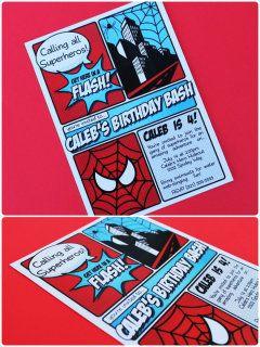 Spiderman party invites -- thanks Pinkadot shop!