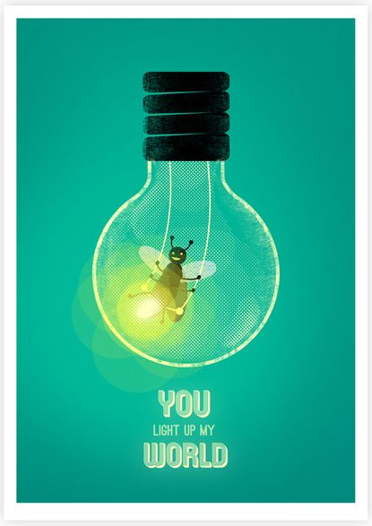You light up my world  This is a clever use of illustration and type for my success peace.  I really like the different usage of textures throughout the piece