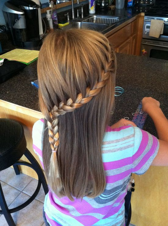 French braid into side waterfall