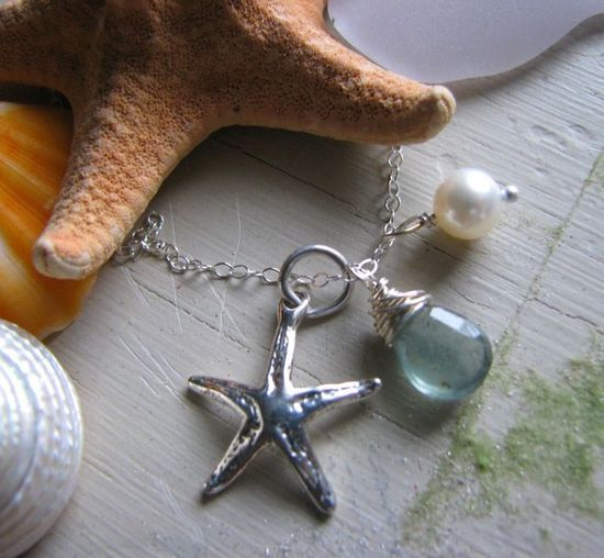 Starfish Dreams...Aquamarine Gemstone, Fresh Water Pearl,Sterling Silver Flower Charm Necklace