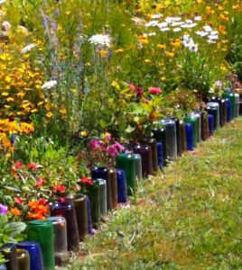 glass bottle garden edging
