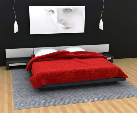Black White and Red Bedroom Design
