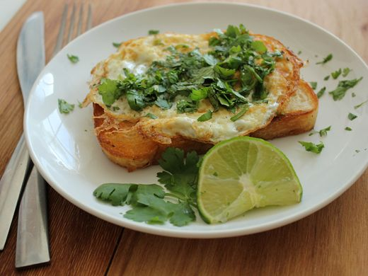 Cilantro and Lime Fried Egg on Toast by homeskillet #Egg #Cilantro #Lime