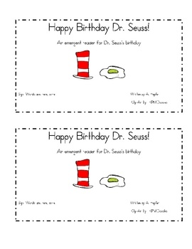 Here is a great emergent reader for Dr. Seuss's birthday!