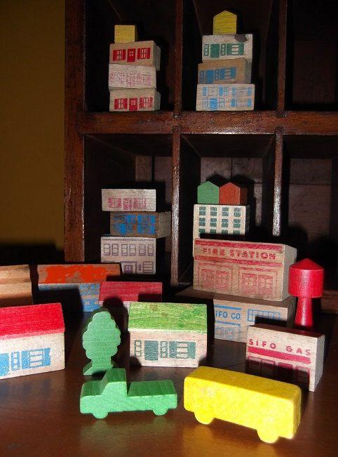 Vintage Wooden Building Blocks Sifo Toys