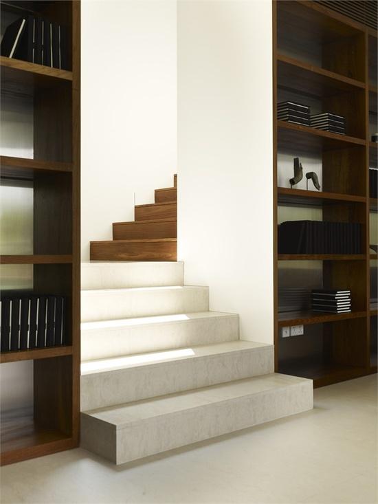 Stair between wooden bookshelves. Nice.