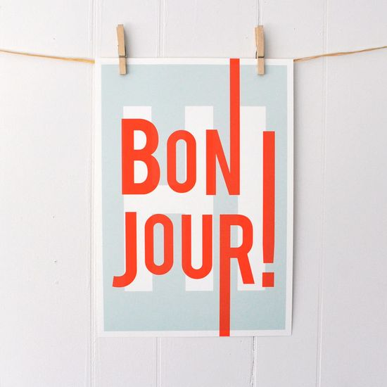 Bonjour Typography Art Print
