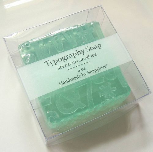 Typography Glycerin Soap, packaged by soapylovedeb