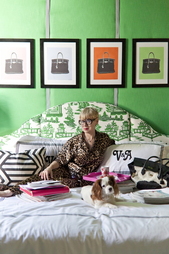 """Love the styling of this photo! In bed, without looking """"come hither."""" I like the dogs and other stuff on the bed.    Rue Magazine (May 2012  Issue). Photography by Sara Essex Bradley. Design by Valorie Hart."""