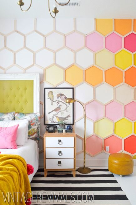 honeycomb hexagon wall for a kid's room