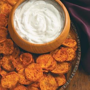 Spicy sweet potato chips and Cilantro dip