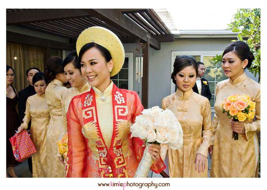 gold ao dai for bridesmaids