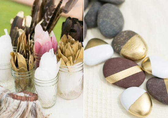 DIY hand painted rocks and feathers
