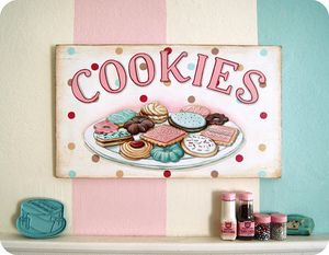 Cookies hand painted vintage style bakery wood sign by Everyday is a Holiday #bakery #kitchen #art #sign #retro #baking #cookies #cookie #pink #aqua #blue #polka dots #spotted #jam #chocolate #sprinkles #pretty #icing $125.00